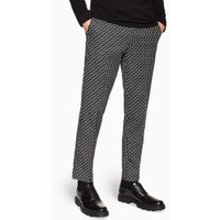 Mens Black Check Skinny Cropped Trousers, Black
