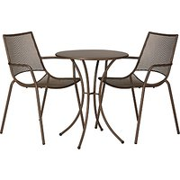 John Lewis & Partners Ala Mesh Garden Table and Chairs Bistro Set, Bronze