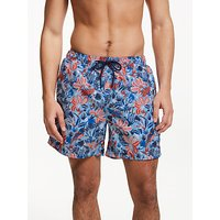 John Lewis & Partners Bird Print Swim Shorts, Multi Blues