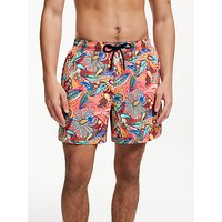 John Lewis & Partners Paisley Print Swim Shorts, Red/Multi