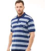 Kangaroo Poo Mens Yarn Dyed Stripe Polo Navy/Denim Marl