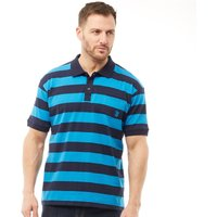 Kangaroo Poo Mens Yarn Dyed Stripe Polo Navy/Royal