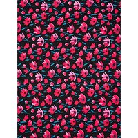 Oddies Textiles Poppy Print Fabric, Black/Pink