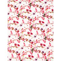 Oddies Textiles Flower Branches Print Fabric, Pink/Ivory