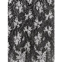 Oddies Textiles Embroidered Flowers Fabric, Silver
