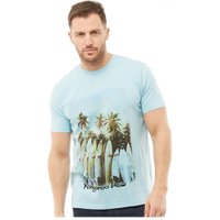 Kangaroo Poo Mens Chest Print T-Shirt Sky Blue