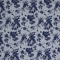 Viscount Textiles Rose Chambray Print Fabric, Dark Blue