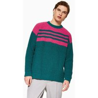 Mens Blue Turquoise And Pink Stripe Chenille Jumper, Blue