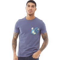 Fluid Mens Pocket Print T-Shirt Vintage Indigo