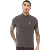Fluid Mens Pique Polo Charcoal Marl/Pink