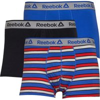 Reebok Mens Hollis Three Pack Trunks Crushed Cobalt/Stripe/Black