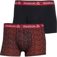 Reebok Mens Reece Two Pack Trunks Black Print/Black