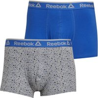 Reebok Mens Reece Two Pack Trunks Grey Marl Print/Vital Blue