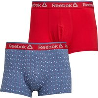 Reebok Mens Dylan Two Pack Trunks Blue Slate Print/Primal Red