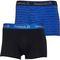Reebok Mens Roland Two Pack Trunks Black/Crushed Cobalt Print