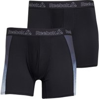 Reebok Mens Rory Performance Two Pack Long Trunks Black/Black/Grey Print