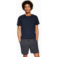 Mens Navy Pinstripe Pull On Shorts, Navy