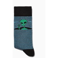 Mens Blue Peeping Alien Stripe Socks, Blue