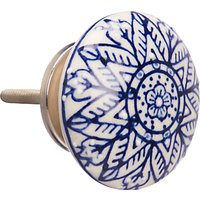 John Lewis & Partners Embossed Ceramic Cupboard Knob, Blue/White
