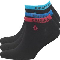 Original Penguin Mens Three Pack Trainer Socks Black/Multi