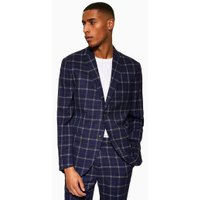 Mens Navy Check Tailored Fit Blazer, Navy