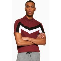 Mens Red Burgundy Chevron Polo, Red