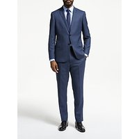 John Lewis & Partners Wool Puppytooth Slim Fit Suit Jacket, Blue