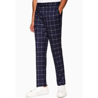 Mens Navy Check Tailored Fit Trousers, Navy