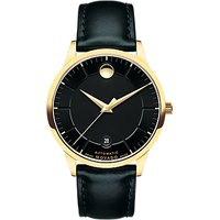 Movado 606875 Men's 1881 Automatic Date Leather Strap Watch, Black