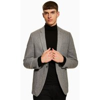 Mens Grey Textured Blazer With Wool, Grey