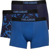 THREADBARE Mens Camo Three Pack Boxer Trunks Navy/Navy Camo/Mid Blue