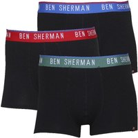 Ben Sherman Mens Conner Three Pack Boxer Shorts Black With Green/Blue/Red
