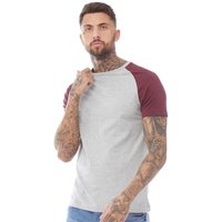 Brave Soul Mens 149 Baptist T-Shirt Light Grey Marl/Burgundy