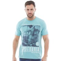 Kangaroo Poo Mens Printed T-Shirt Nile Blue