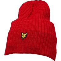 Lyle And Scott Vintage Mens Knitted Ribbed Beanie Tomato Red