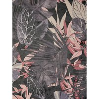 Quality Textiles Leaf Print Mesh Fabric, Grey/Pink