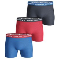 Bjrn Borg Noos Contrast Waistband Trunks, Pack of 3, Blue/Red/Black
