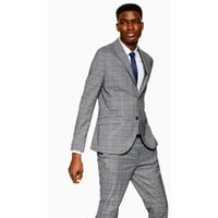 Mens Grey Check Skinny Blazer, Grey