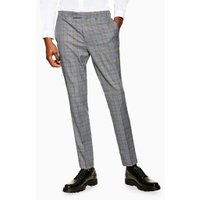 Mens Grey Check Skinny Trousers, Grey