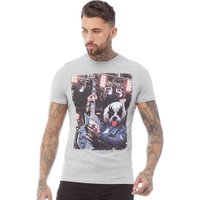 Brave Soul Mens Panda T-Shirt Light Grey Marl
