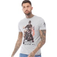 Brave Soul Mens Brando T-Shirt Light Grey Marl
