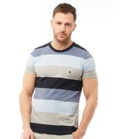 French Connection Mens Wide Four Stripe T-Shirt Sky Melange