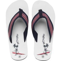 Mad Wax Mens Striped Thong Flip Flops White