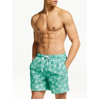 John Lewis & Partners Palm Tree Print Swim Shorts, Green