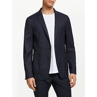 Kin Pin Stripe Slim Fit Suit Jacket, Navy