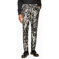 Mens Grey Moth Jacquard Skinny Trousers, Grey