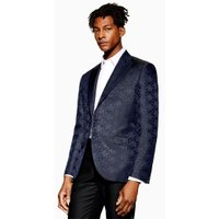 Mens Navy Jacquard Slim Blazer, Navy