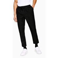 Mens Black Pinstripe Joggers, Black