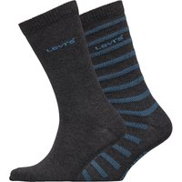 Levi's Mens Herringbone Crew Two Pack Socks Charcoal/Blue