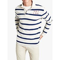 HKT Long Sleeve Hoop Stripe Rugby Shirt, Chalk/Atlantic